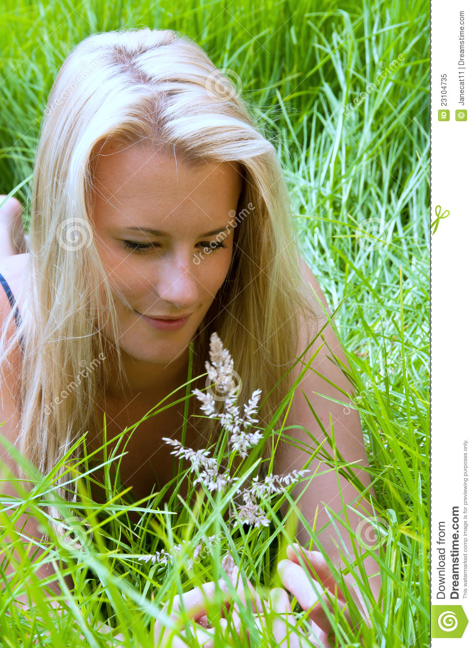 Blonde girl studying grass seed head in meadow