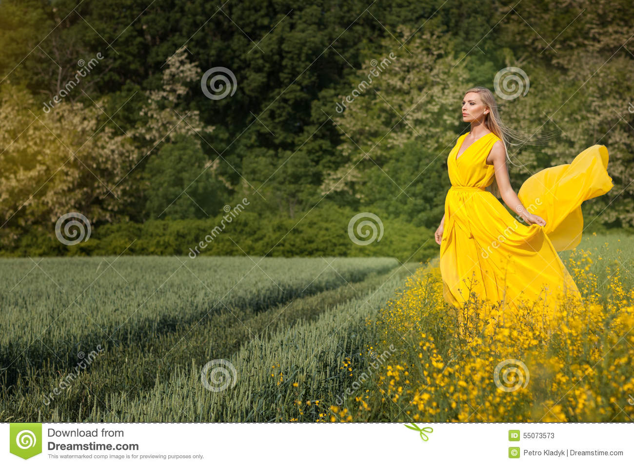 Blonde girl in a yellow dress.