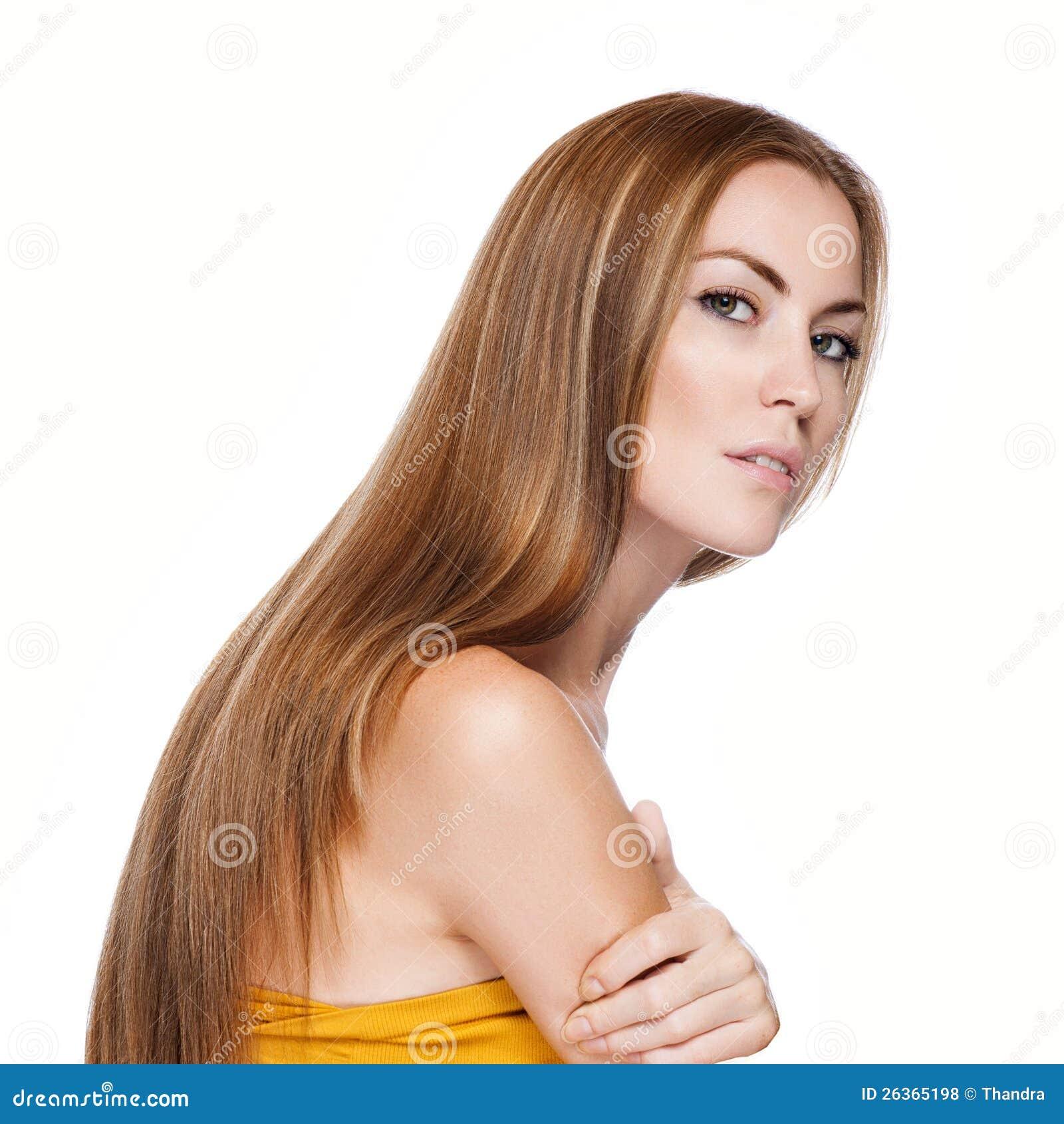 Blonde Hair.Beautiful Frau mit dem geraden langen Haar