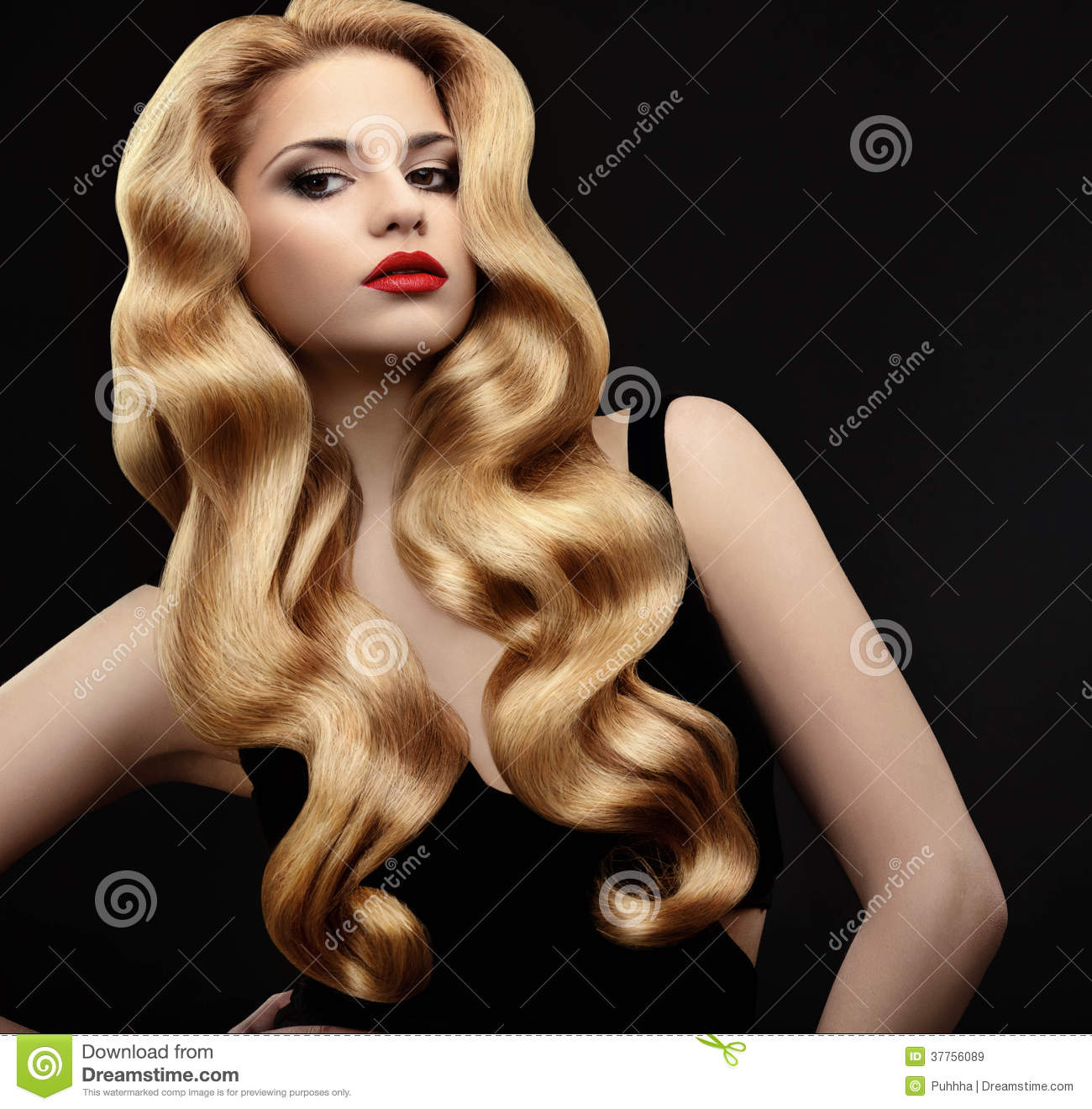 Portraits of young attractive girls with long blonde hair Vector ...