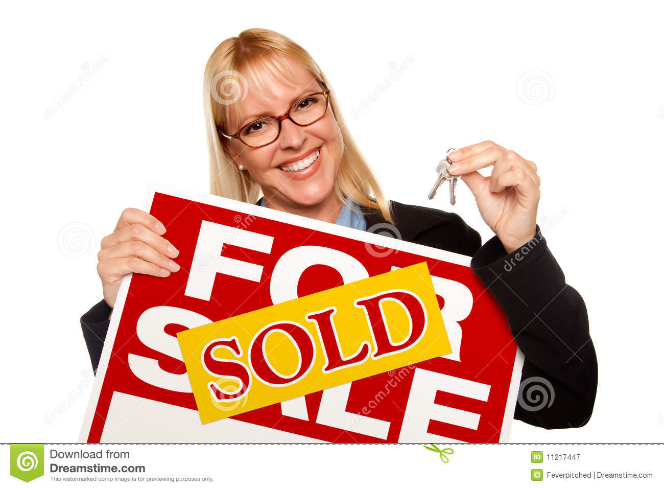 For Sale Sold Sign: Blonde Holding Keys & Sold For Sale Sign Stock Image