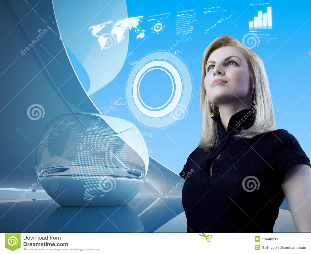 Blonde with interface in future interior