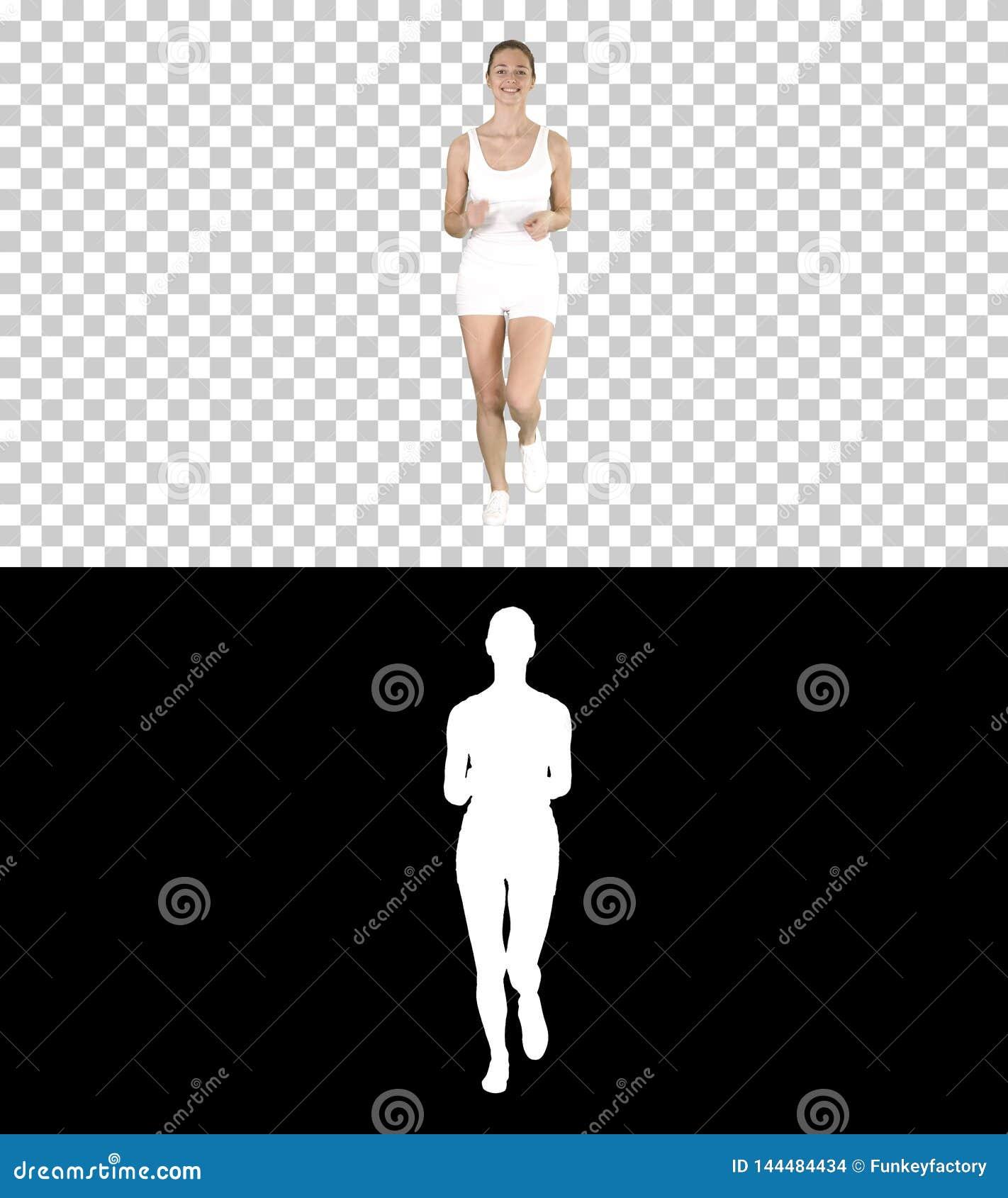 Blonde jonge vrouw die, Alpha Channel lopen