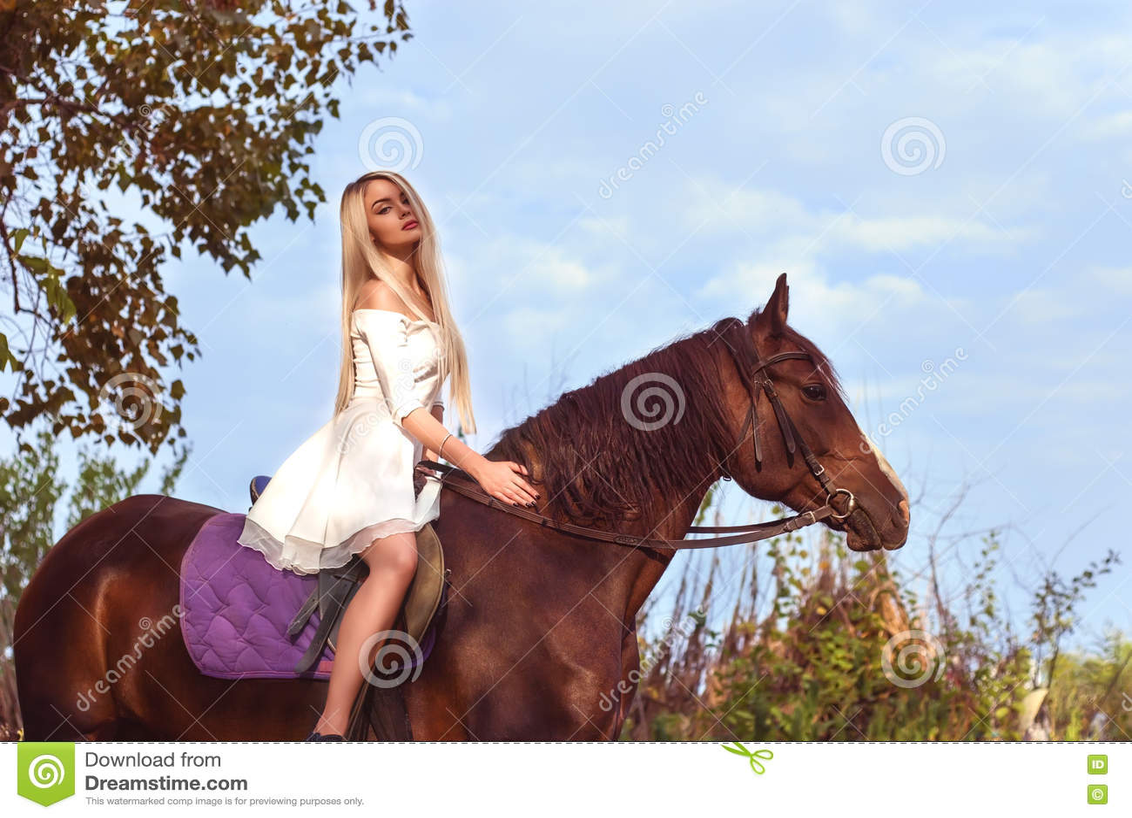 Blonde Kaukasisch meisje die een paard berijden op een warme en zonnige de zomerdag
