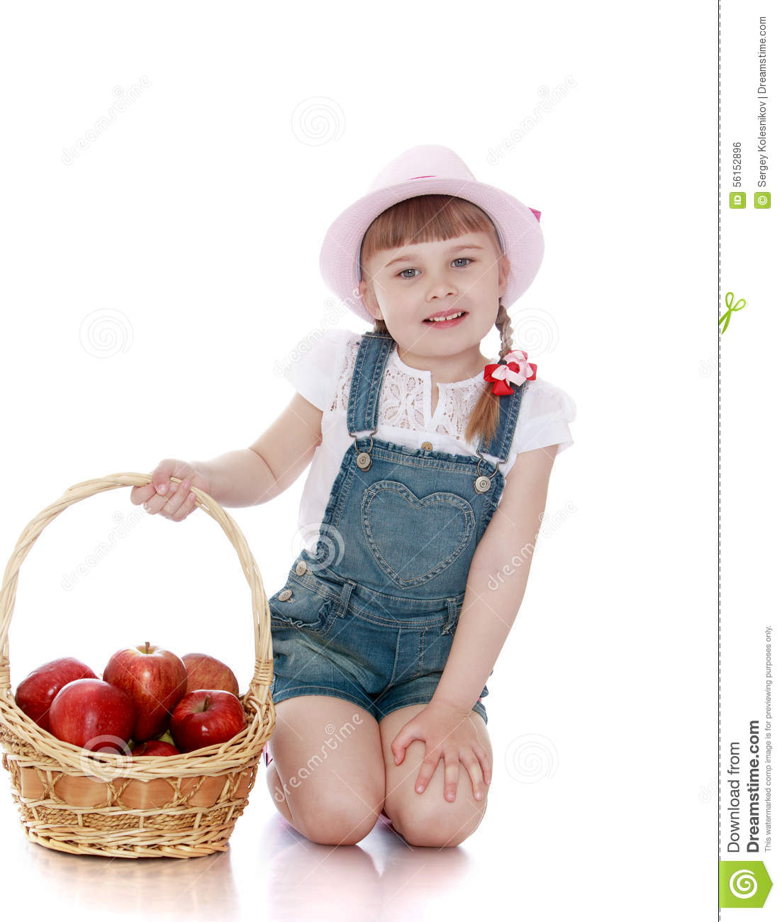 Blonde Little Girl With Short Braids In Pink Hats Stock