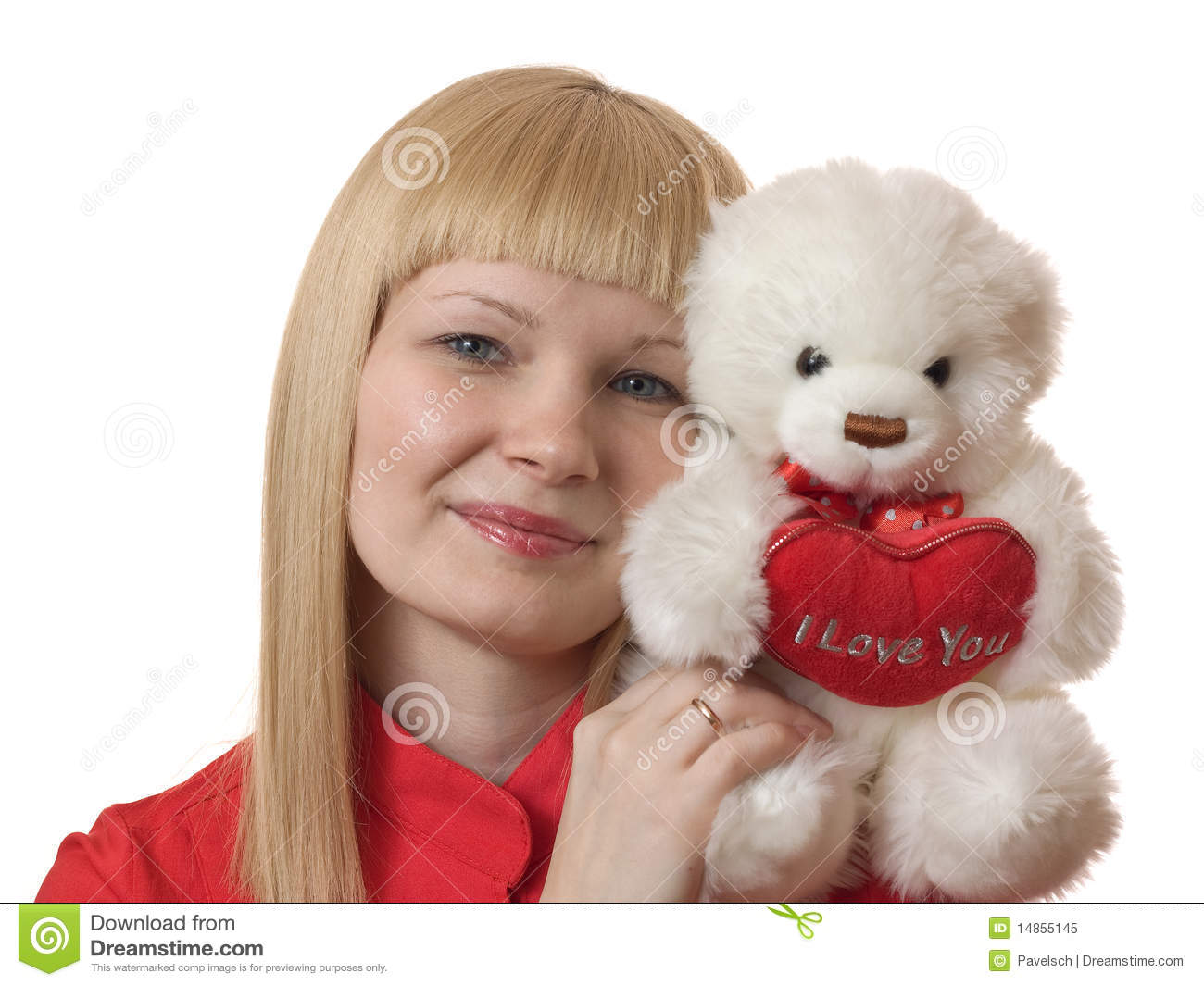 Blonde with a plush toy