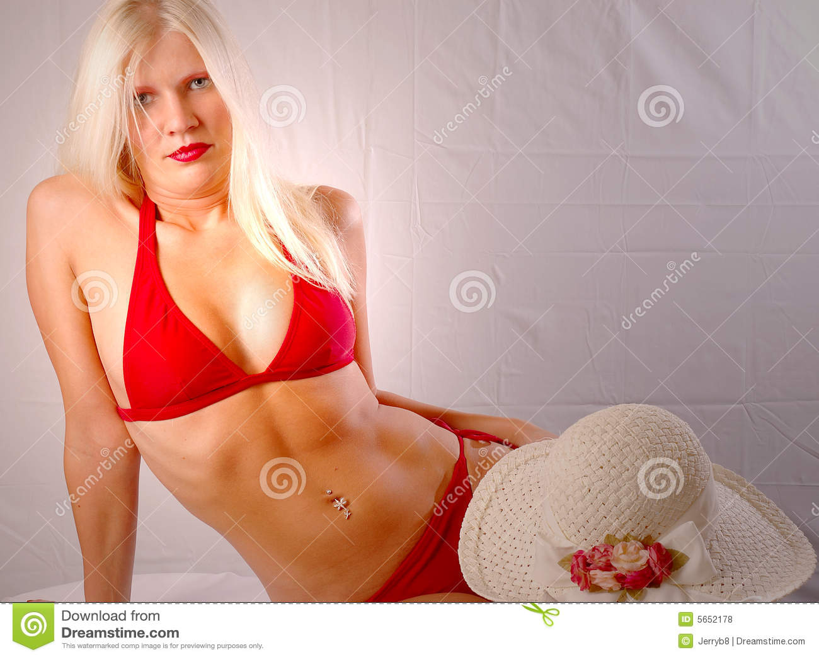 Blonde Red Bikini 78