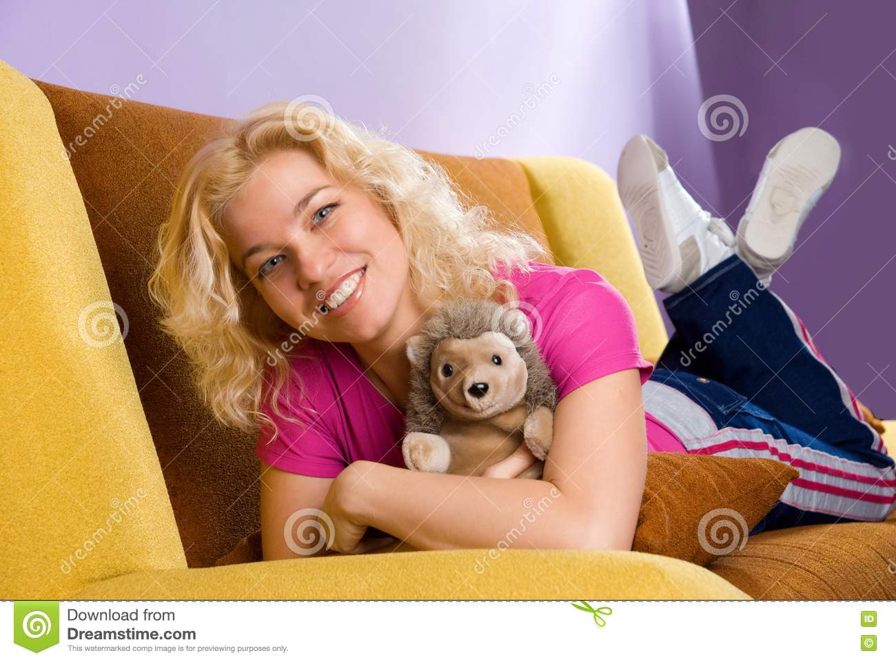 Blonde at the couch