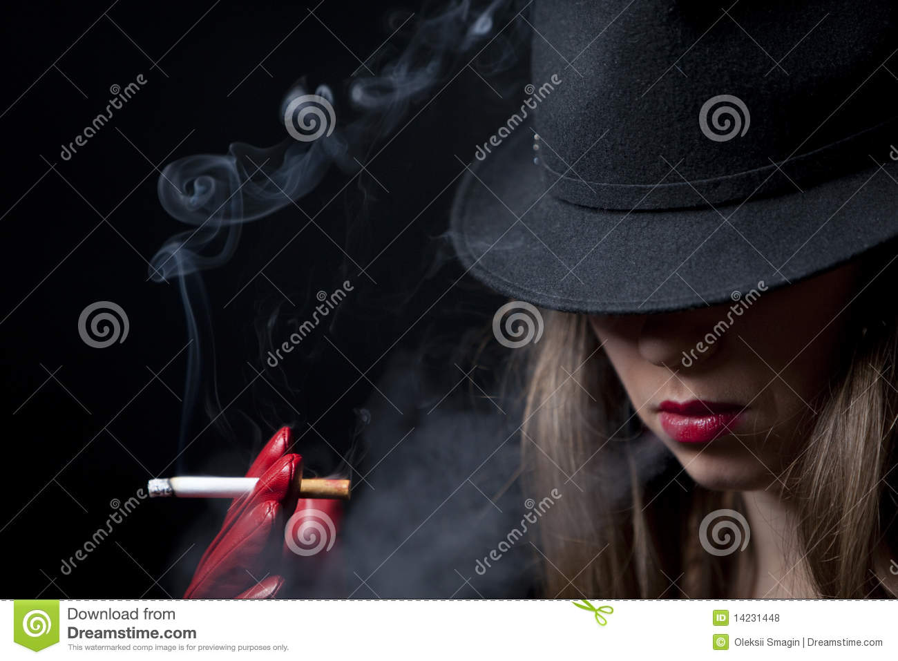 Blonde Smoking Cigarette Young Fashion Girl Stock Photo - Image of
