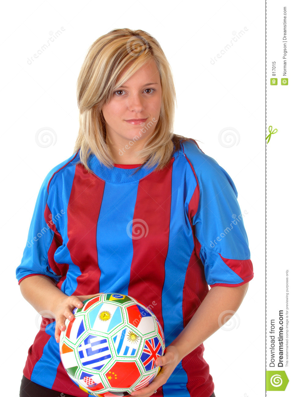 blonde soccer girl royalty free stock photo
