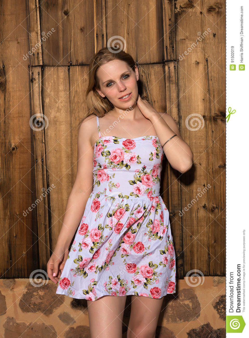 f971d32dbd2 Blonde in a summer dress stock image. Image of attractive - 91502019