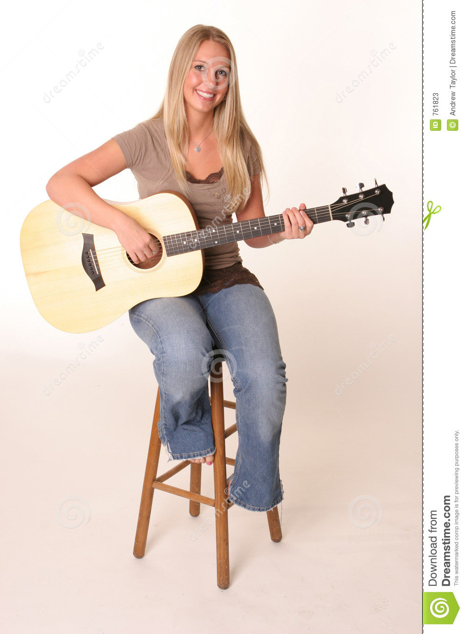 Blonde Teen Guitar Stool Stock Image Image Of Woman