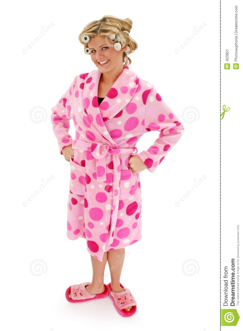 Download Blonde Woman in Bathrobe stock image. Image of date, rollers - 453951