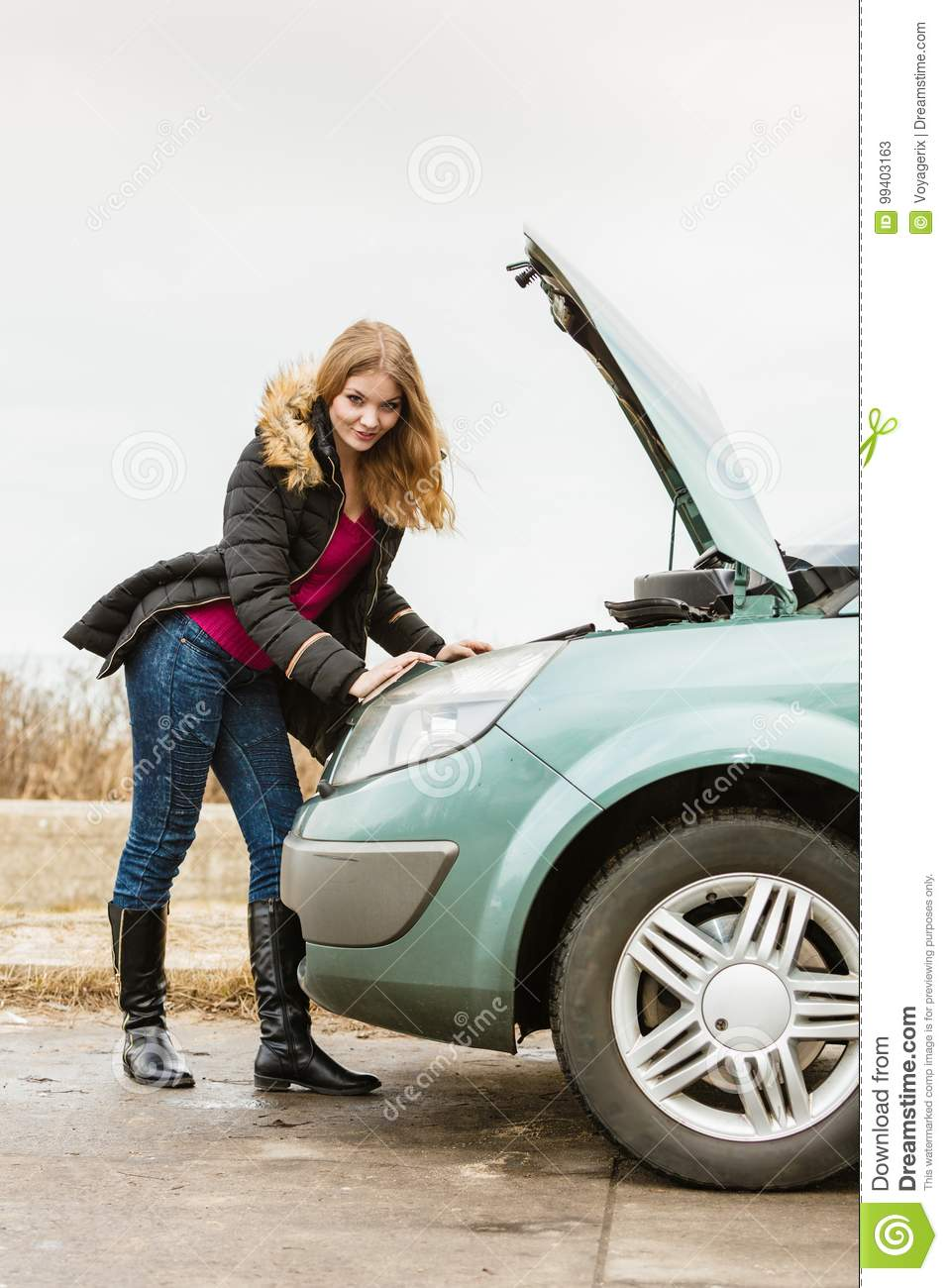 Blonde Woman And Broken Down Car On Road Stock Image - Image of ...