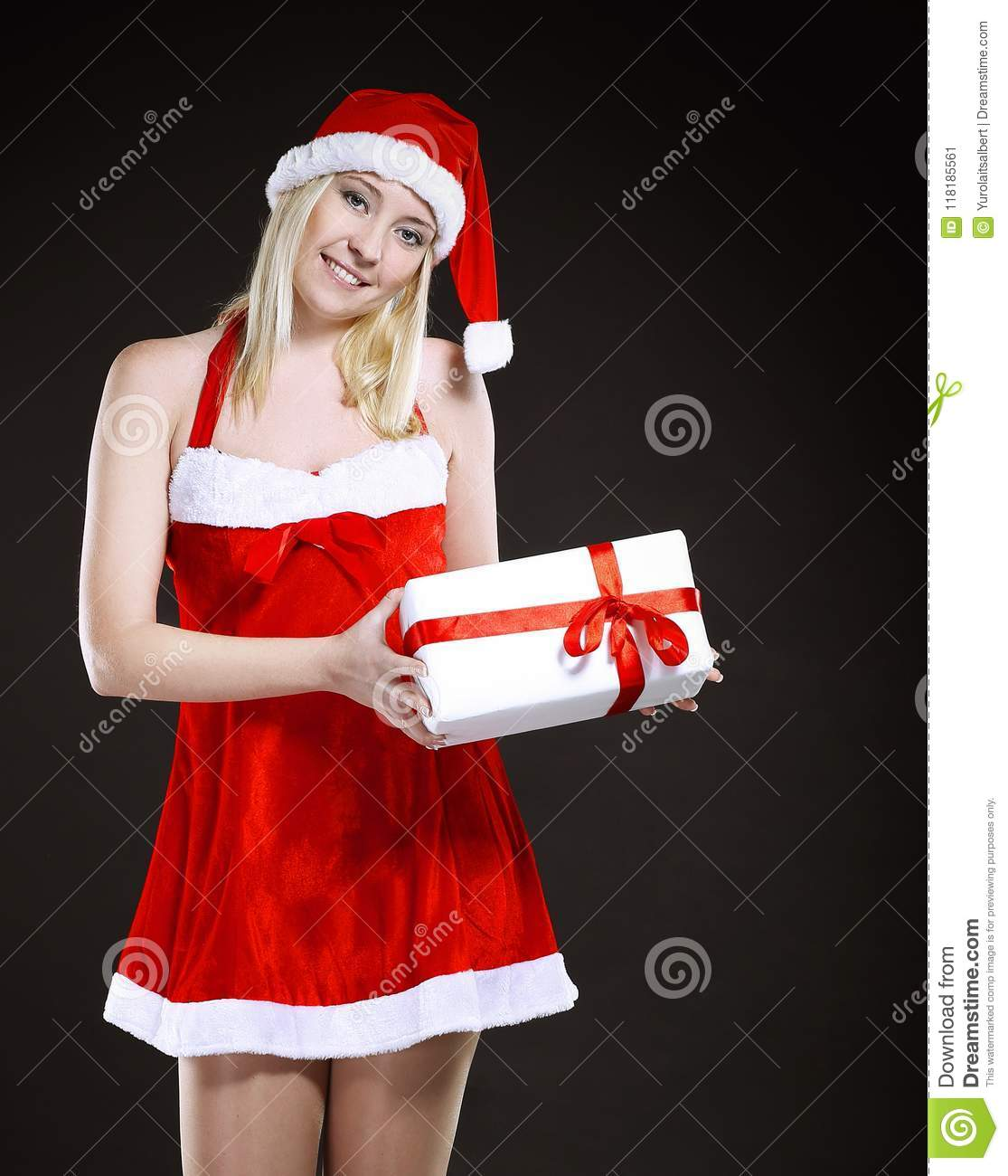 Blonde Woman In Costume Of Santa Claus With Christmas Gift. Stock ...
