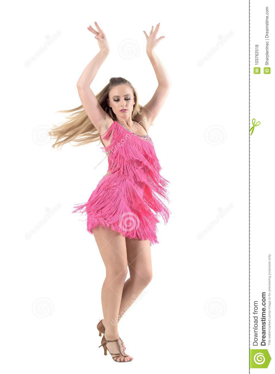 835151516 Blonde Woman Dancing Latino Dances With Arms Raised Up. Stock Photo ...