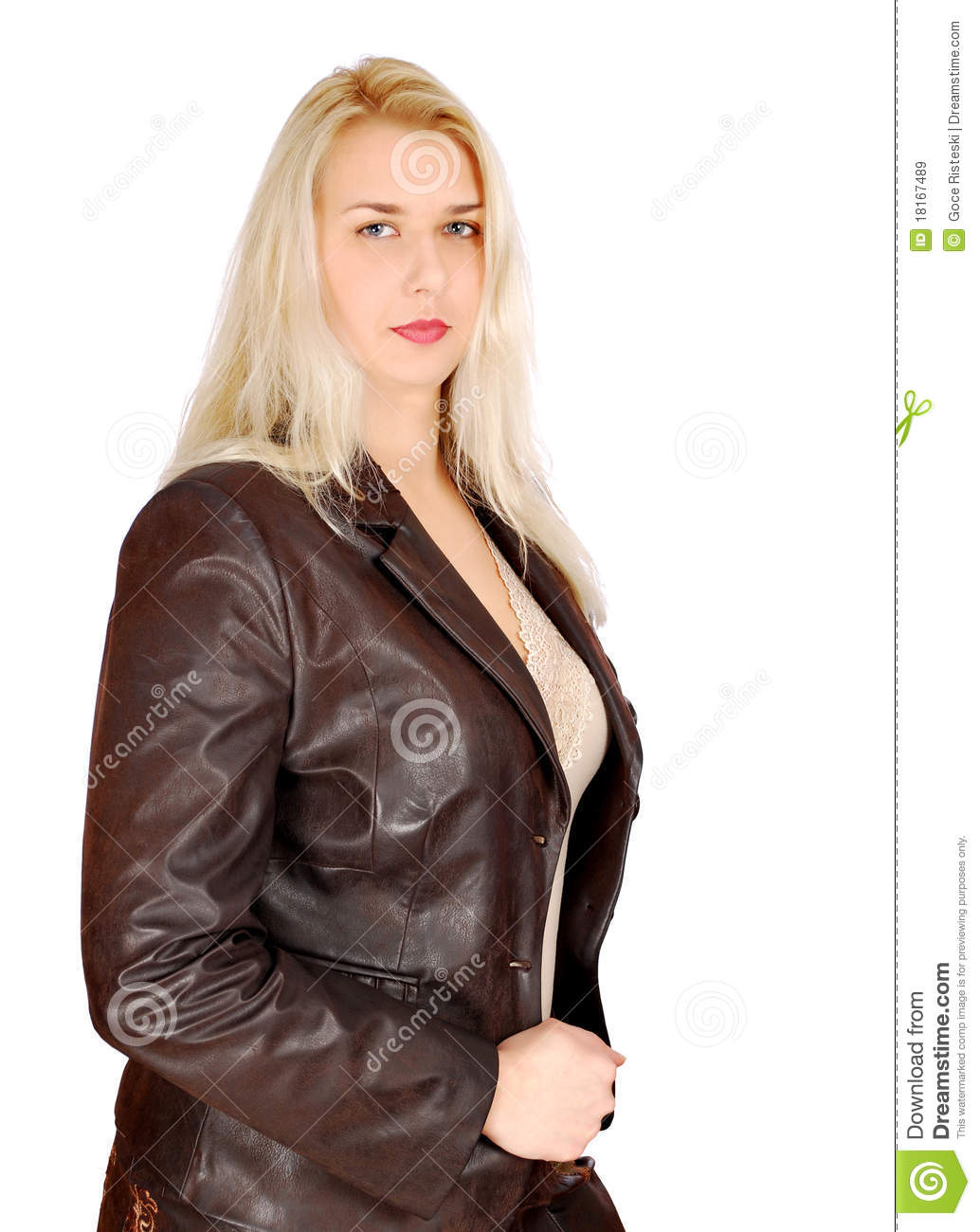 More similar stock images of blonde woman in leather jacket posing