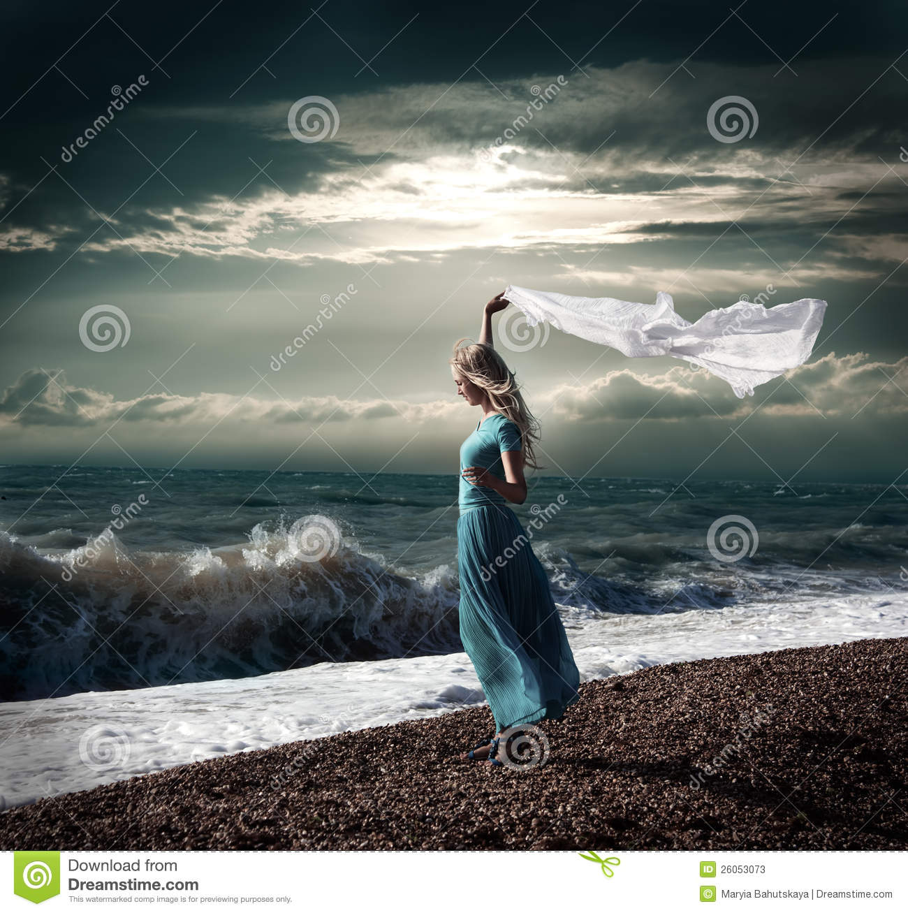 Blonde Woman In Long Dress At Stormy Sea Stock Photos