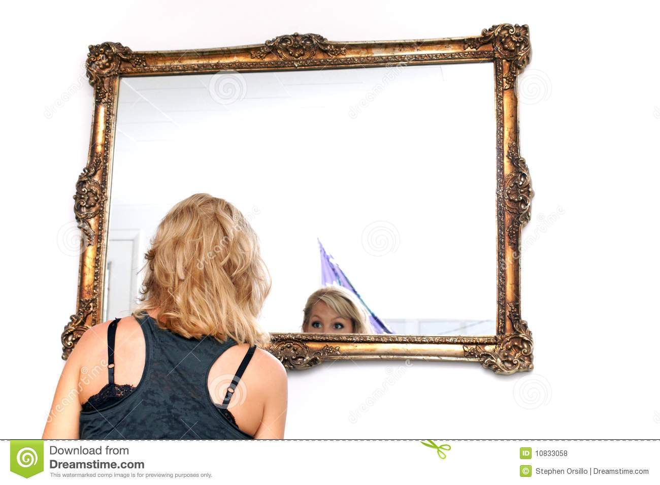 Blonde woman looking in mirror royalty free stock photos for Looking mirror