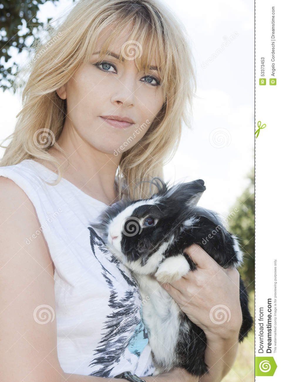 Blonde Woman With Rabbit Bunny Stock Photo Image 53373453