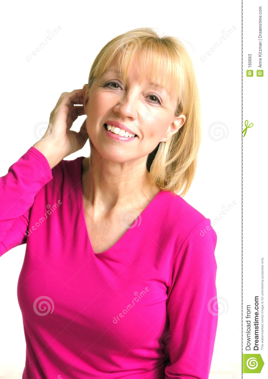 Blonde Woman in Pink