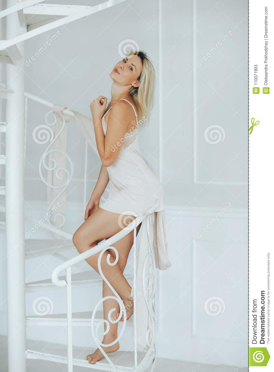 d23f5eec0b0 Blonde Woman Posing In White Lingerie Stock Image - Image of luxury ...