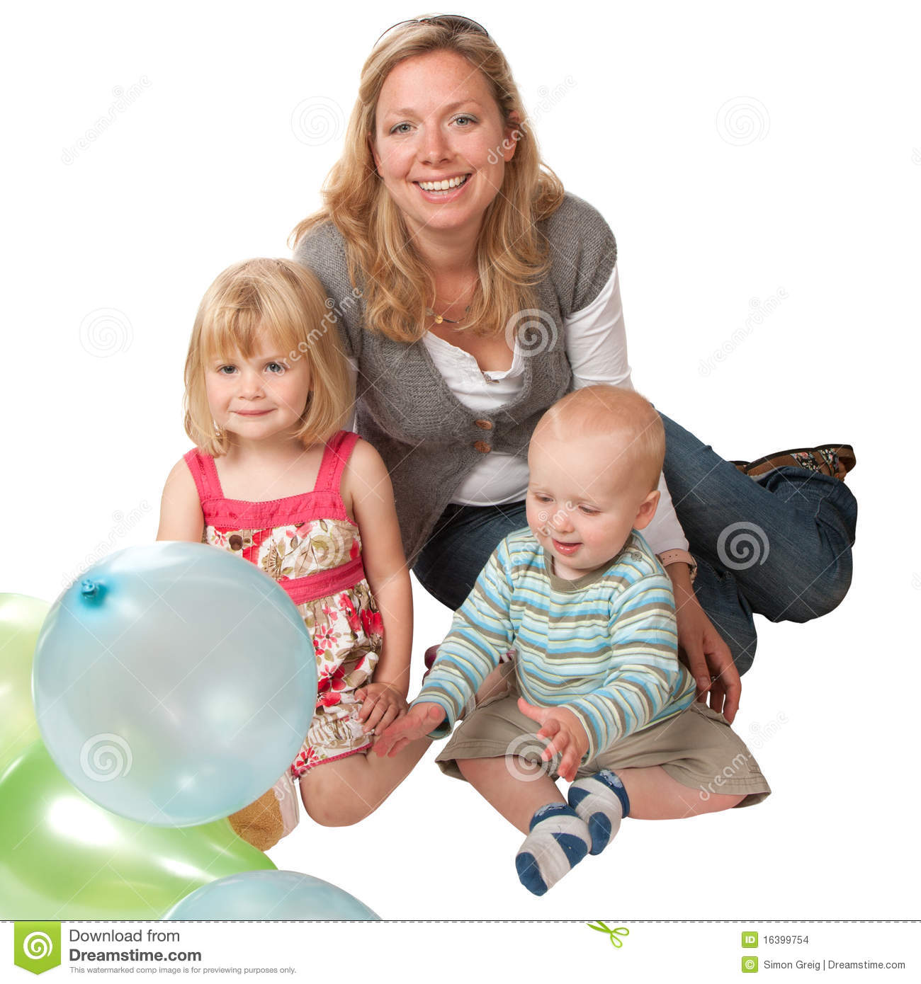 Blonde Woman with Two Children