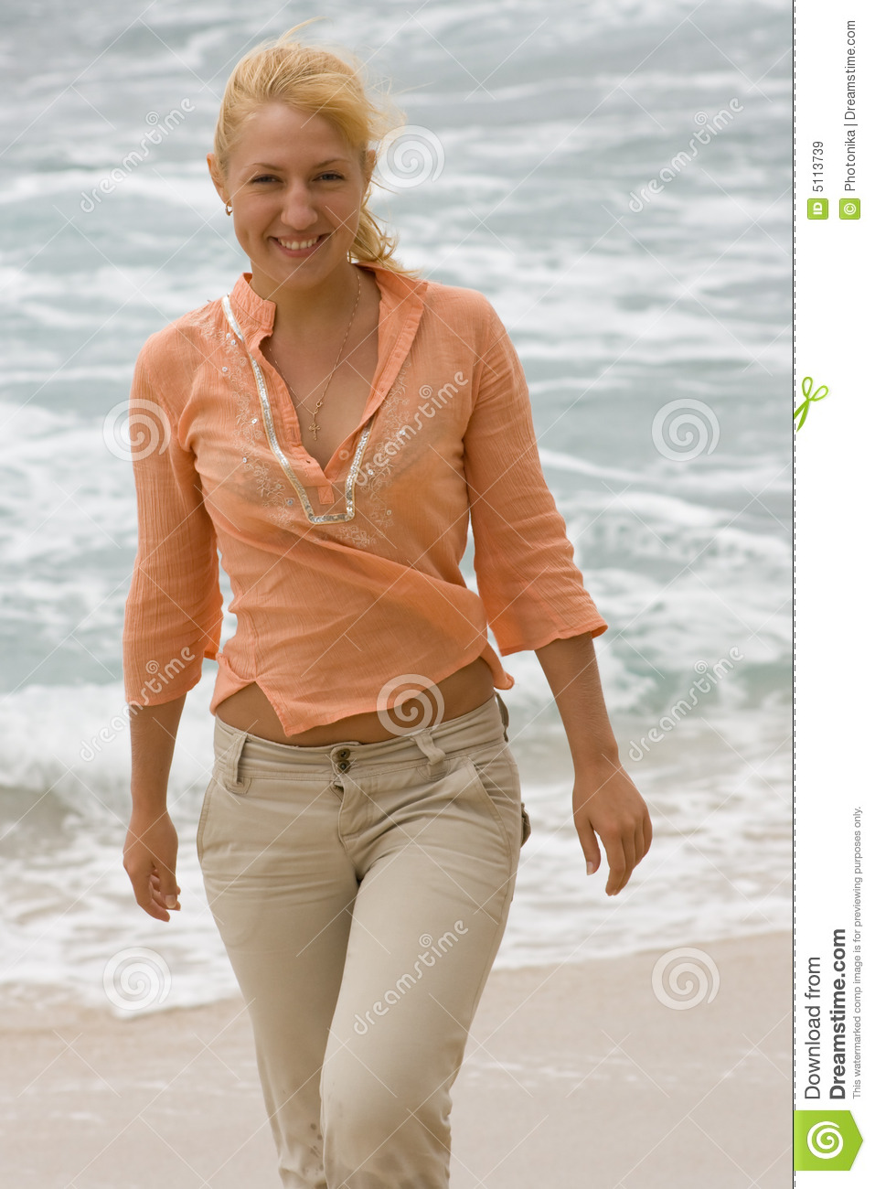 Blonde Woman Walking On The Beach. #1 Stock Image - Image ...