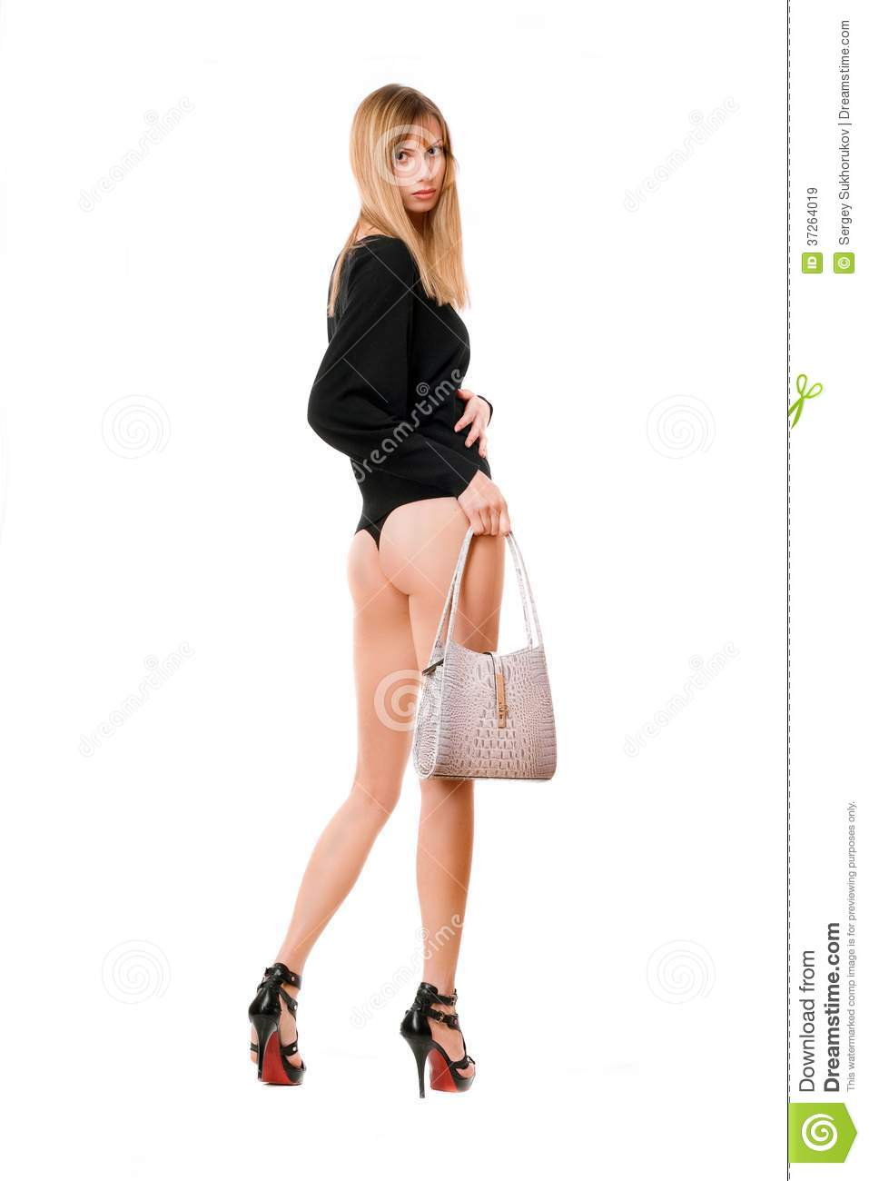 Blonde woman with the white purse