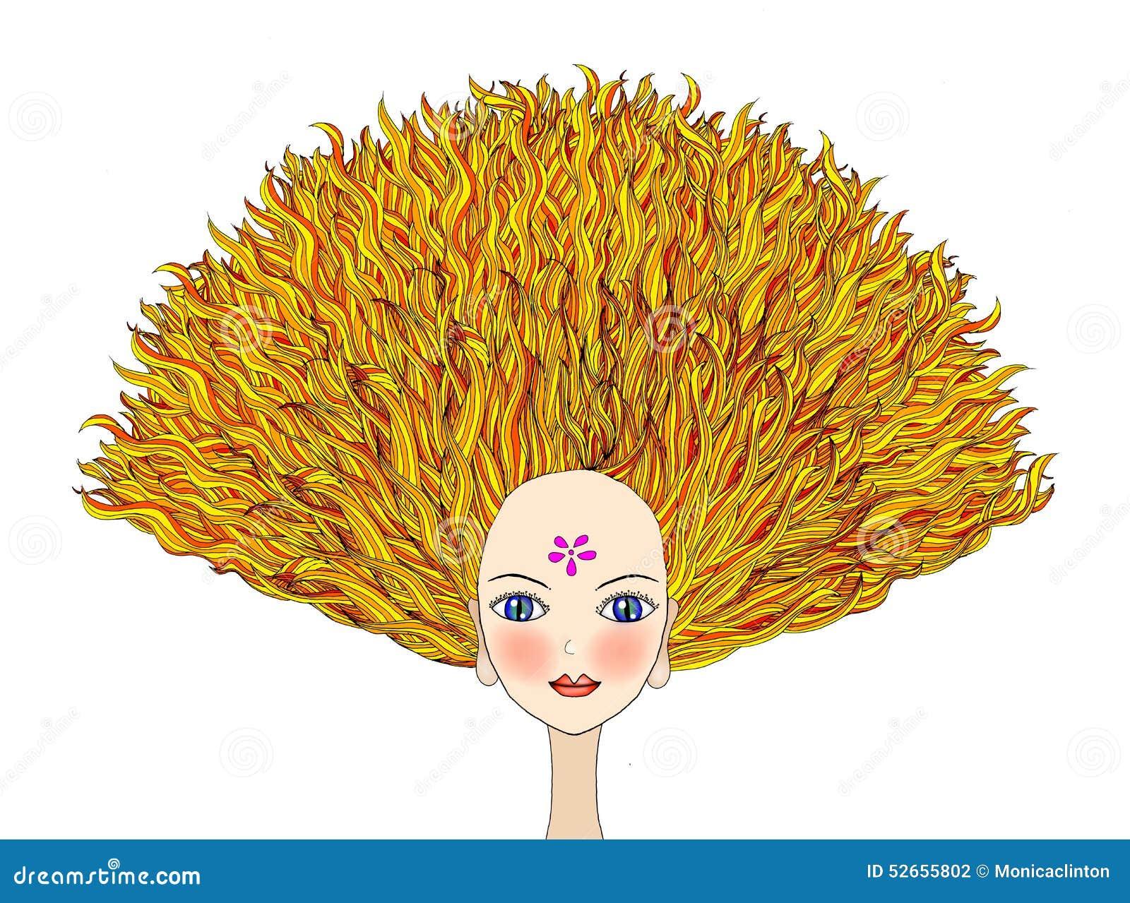 Blondemeisje met dramatisch haar