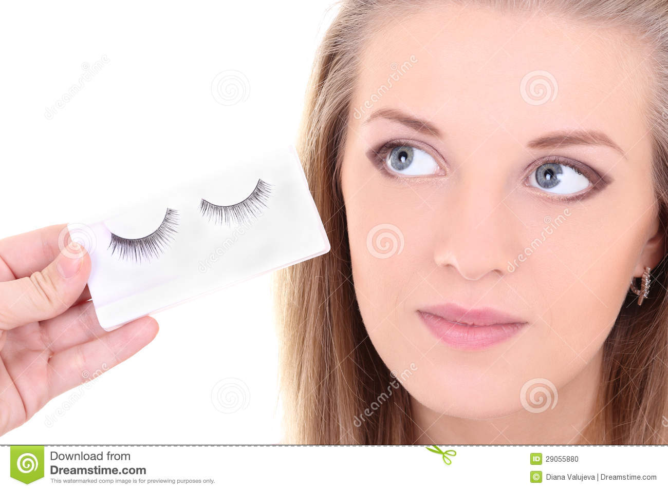 Blondie woman with artificial eyelashes