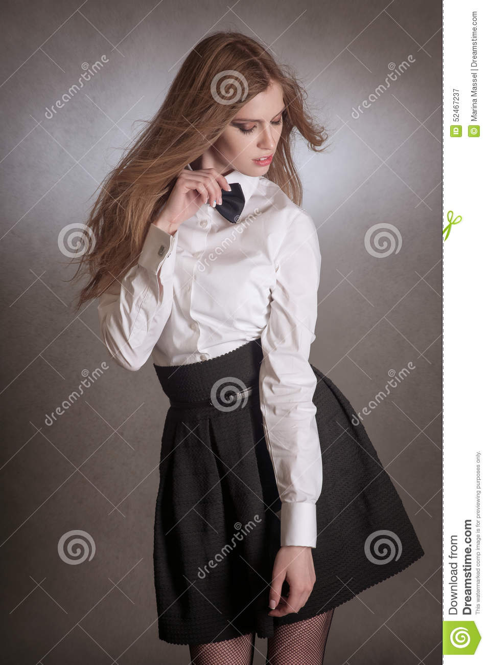 Blondie Woman In White Shirt And Black Bow-tie Stock Photo - Image ...