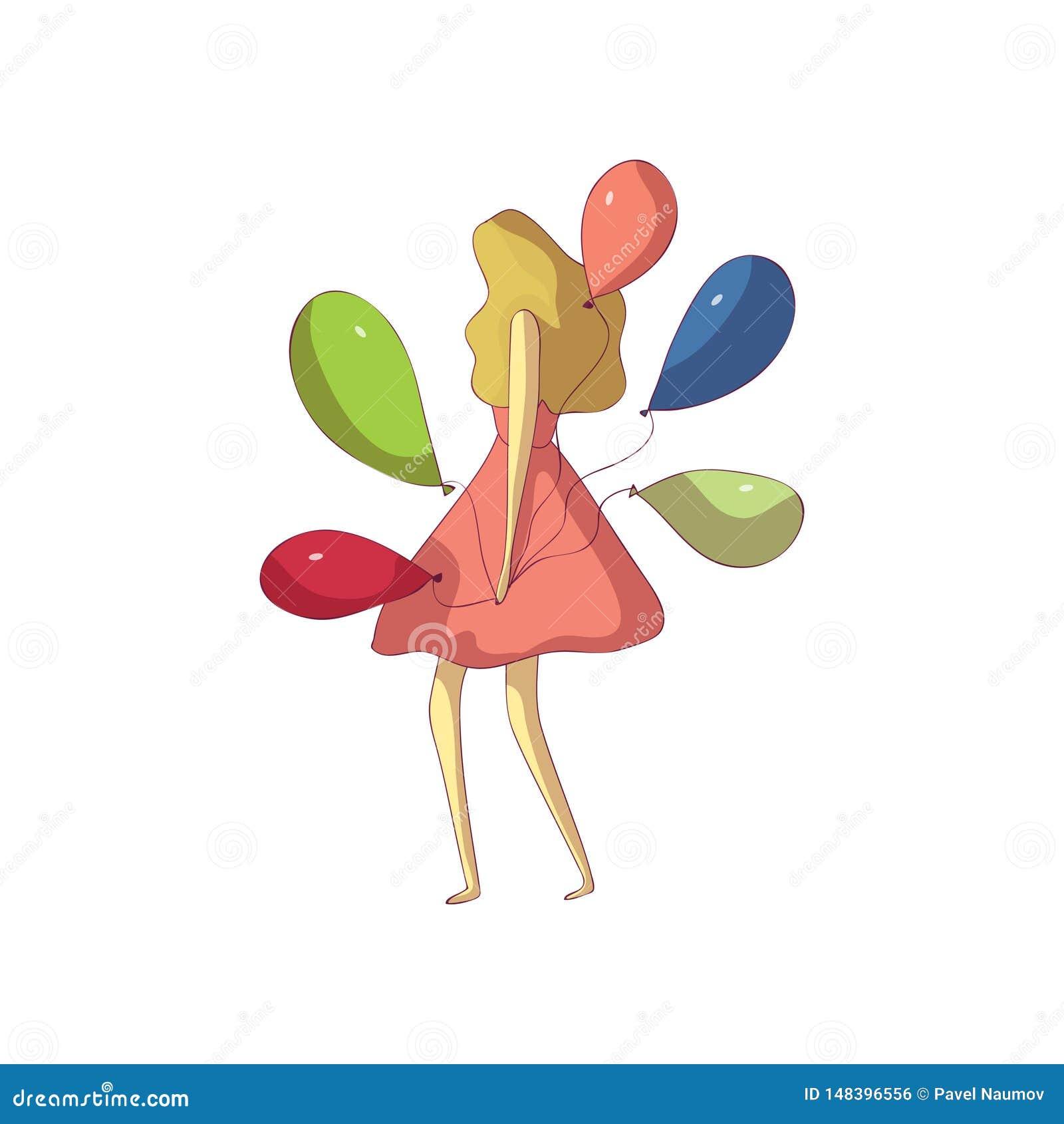 Blondine in einem ausgezeichneten Kleid hält Ballone Vektorabbildung auf wei?em Hintergrund