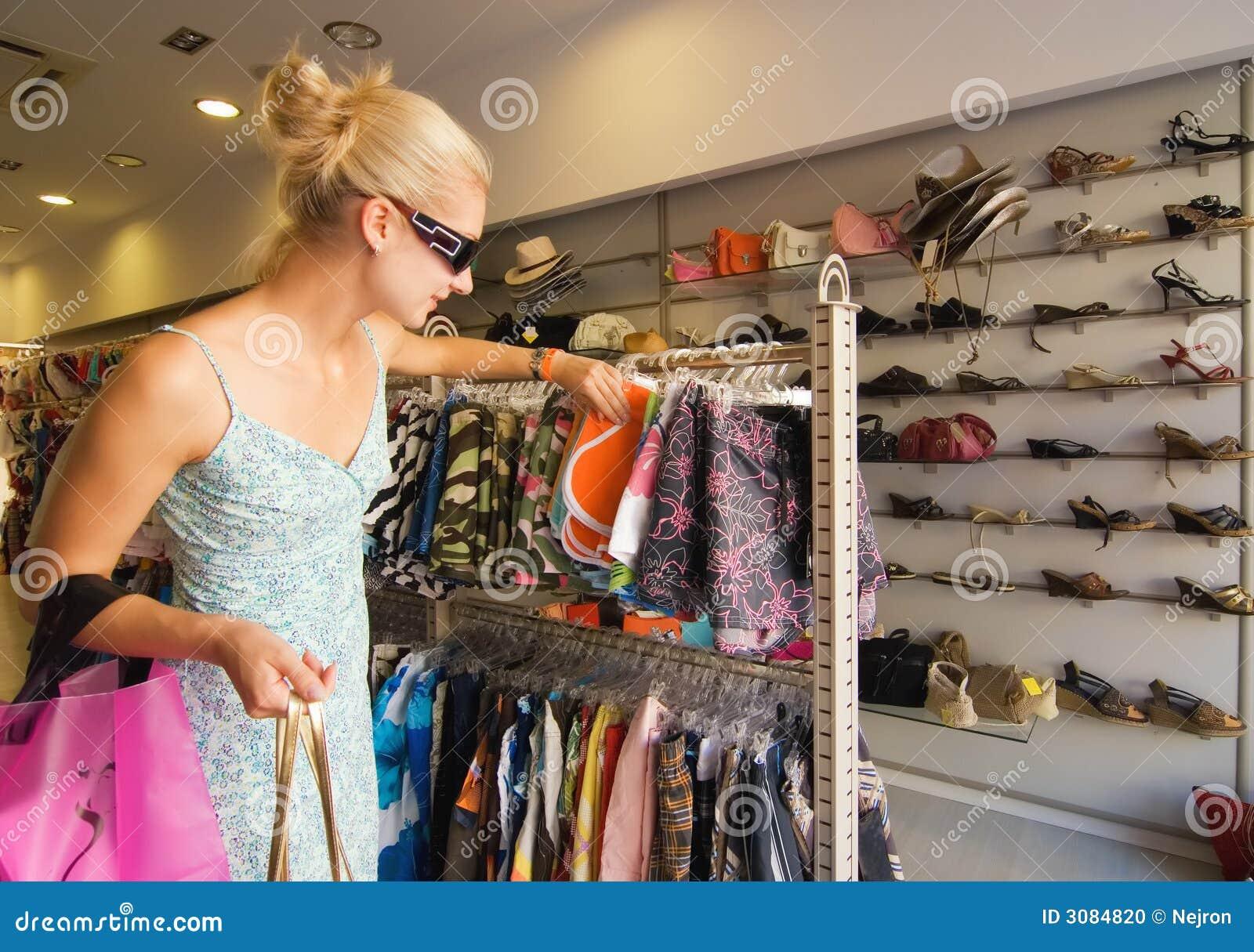 Blong girl buying clothes