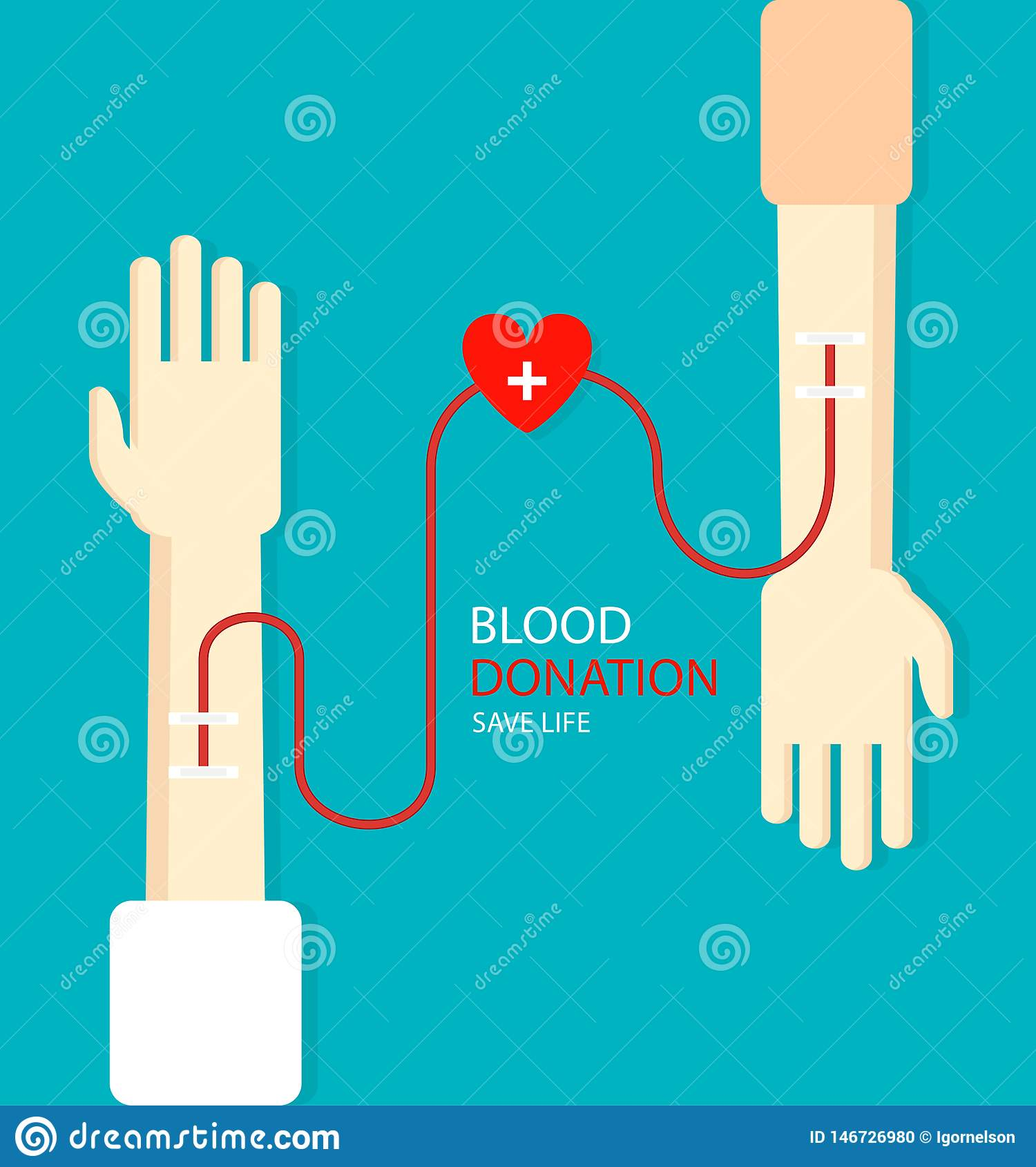 Blood donation concept for poster. Health care. Vector illustration