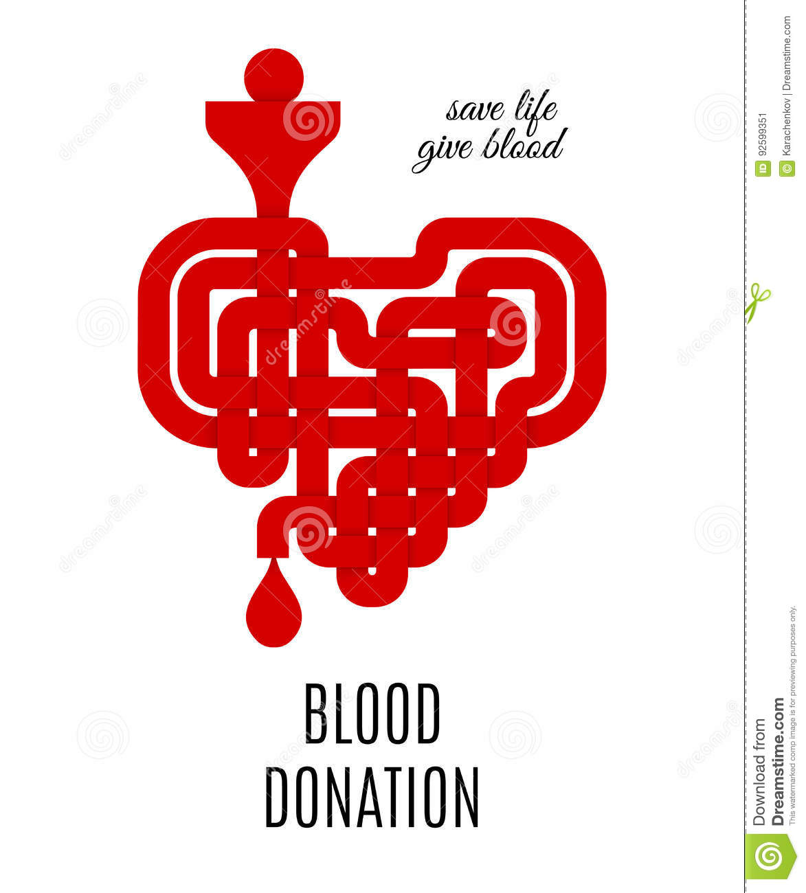 Blood donation concept  with red celtic knotted heart. Vector illustration