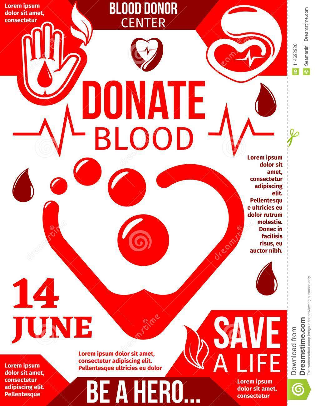 10ef01a4c Blood Donor center banner with drop of donation blood. World Blood Donor  Day poster with red heart and helping hand symbol for health charity and  donor ...