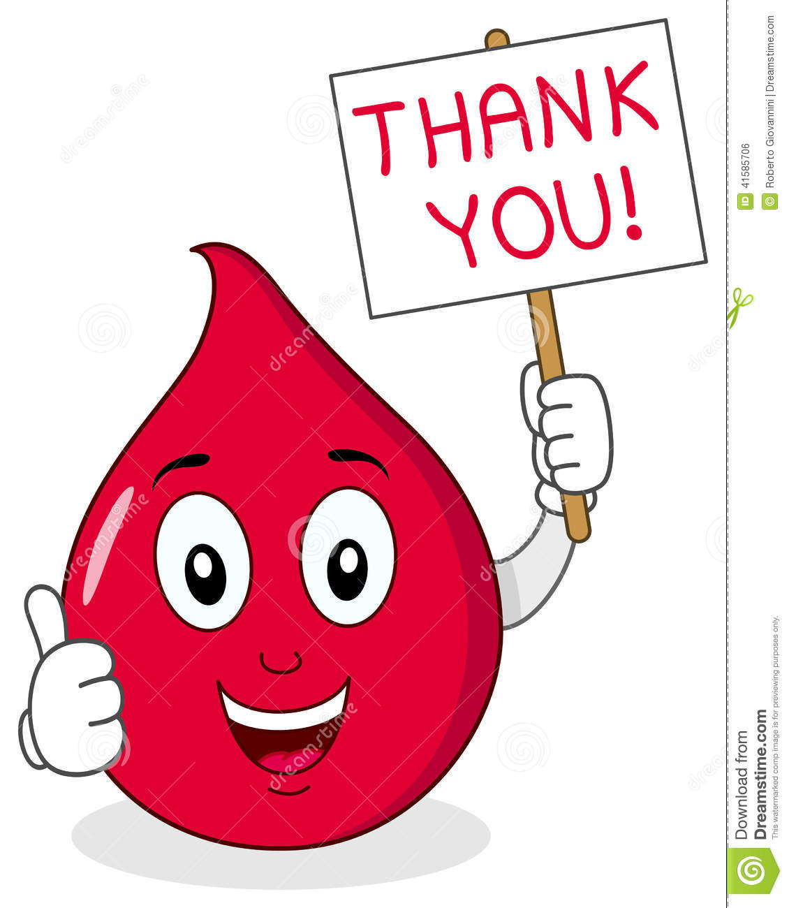 Blood Drop Holding Blood Donor Sign