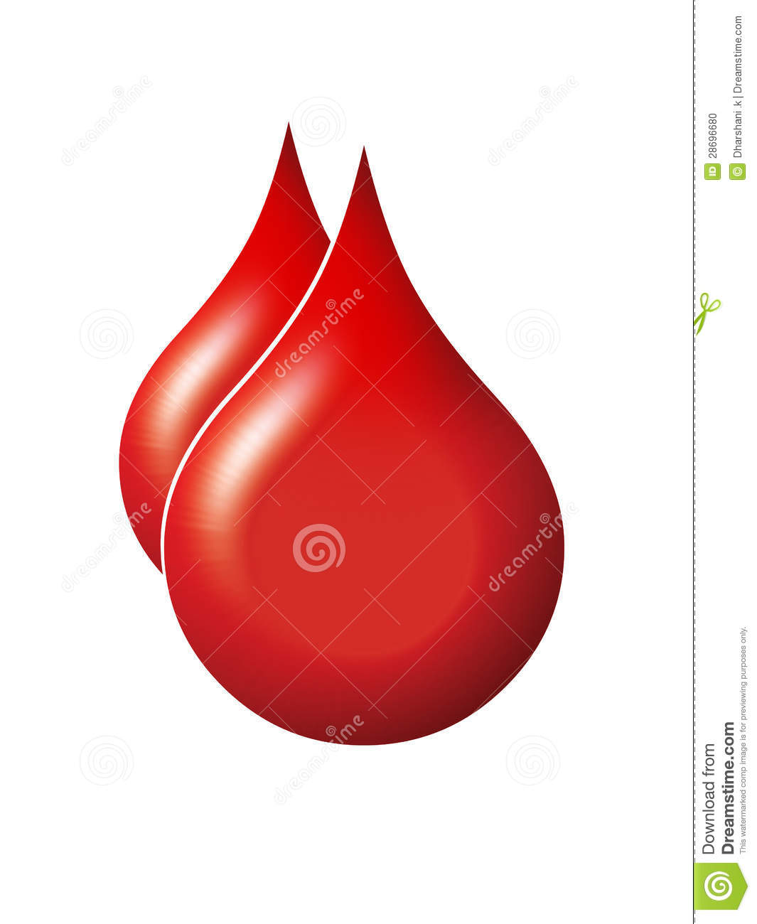 Photo design of blood drops on white background.