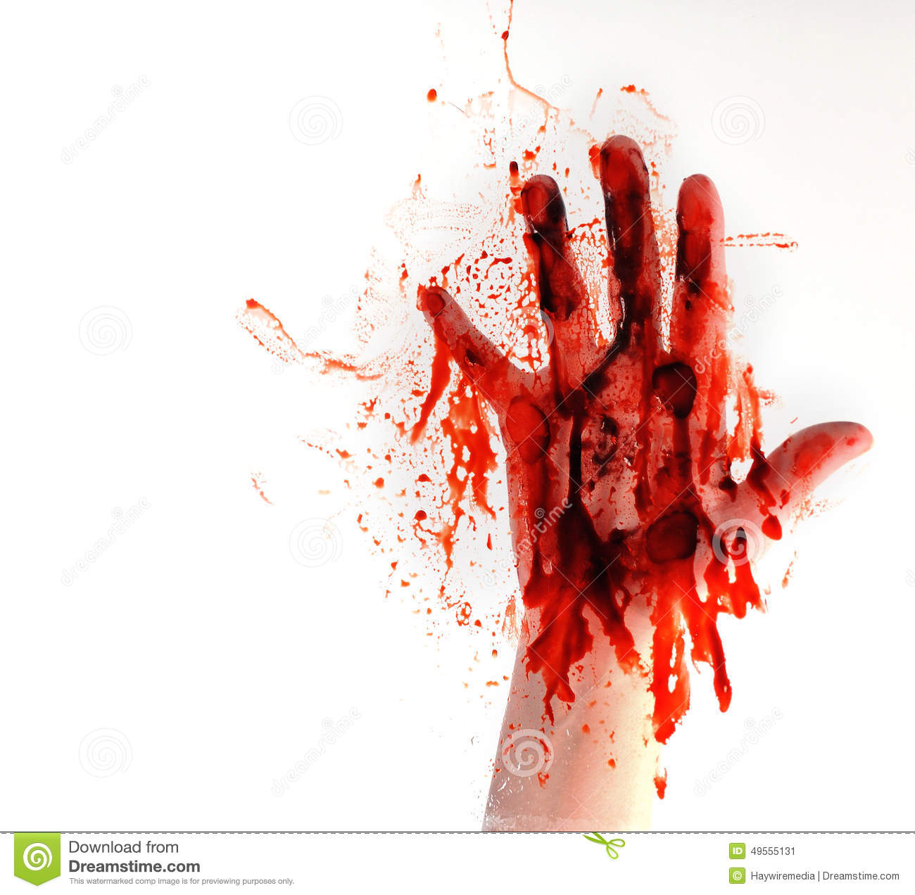 Blood Hand On White Isolated Background Stock Photo - Image: 49555131