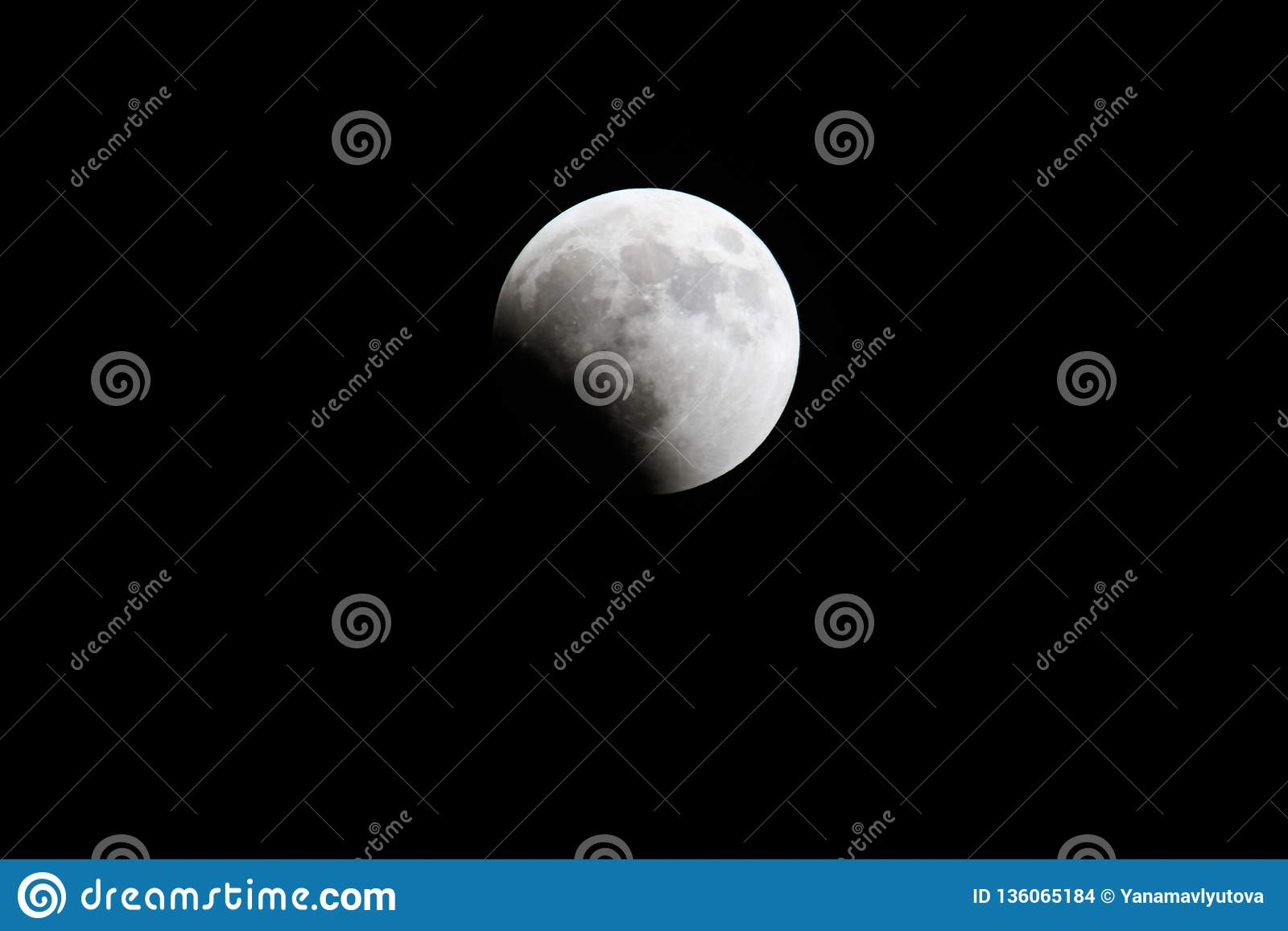 Blood Moon 2018: Longest Total Lunar Eclipse of Century in july, Moon and Mars planet opposition. Night photography. Telescopic