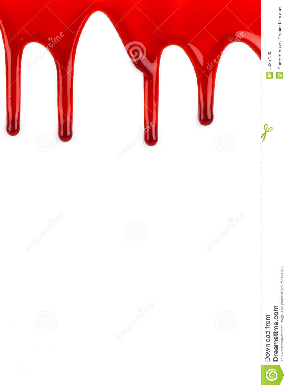 Blood oozing on white background