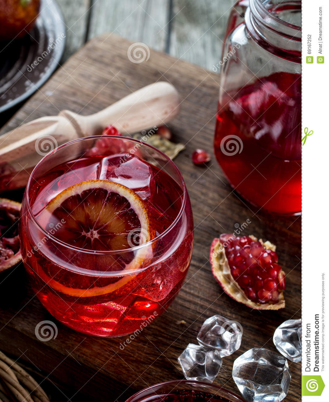 Blood Orange And Pomegranate Cocktails Stock Photo - Image: 69167252