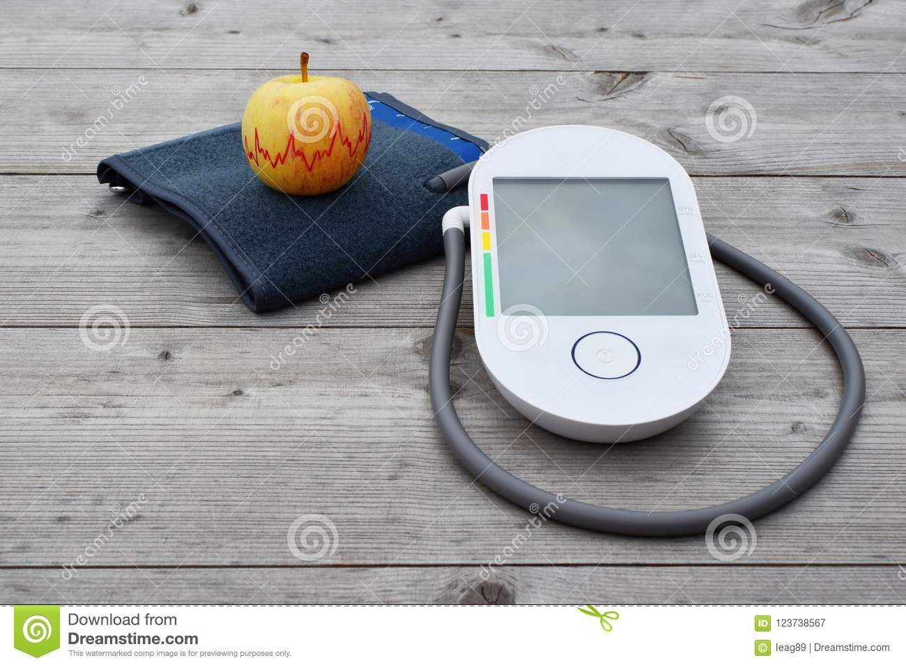Blood pressure measuring device and apple
