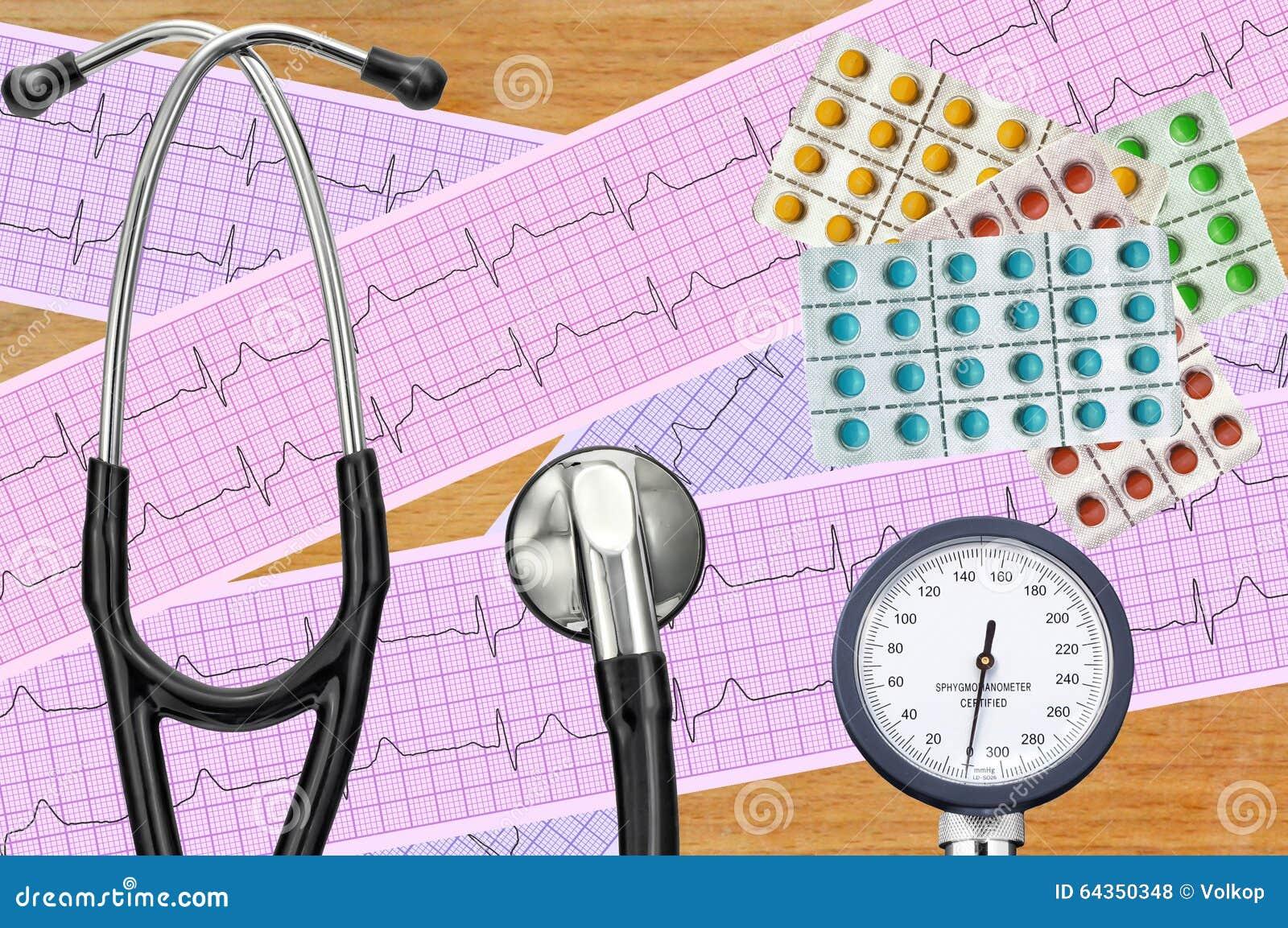 Blood pressure meter, digital tablet, pills and stethoscope