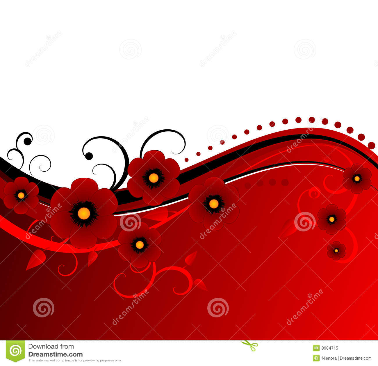 Blood Red Vector Floral Design