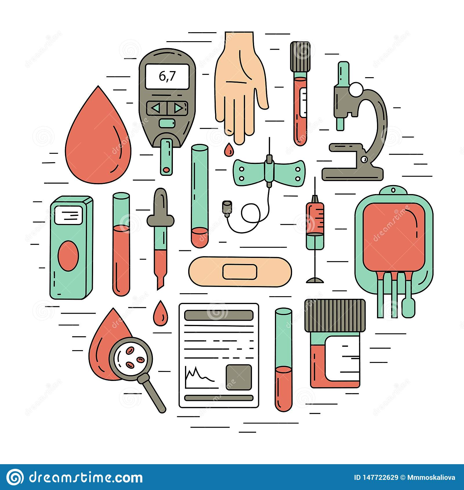 Blood test concept. Vector illustration with blood analysis items