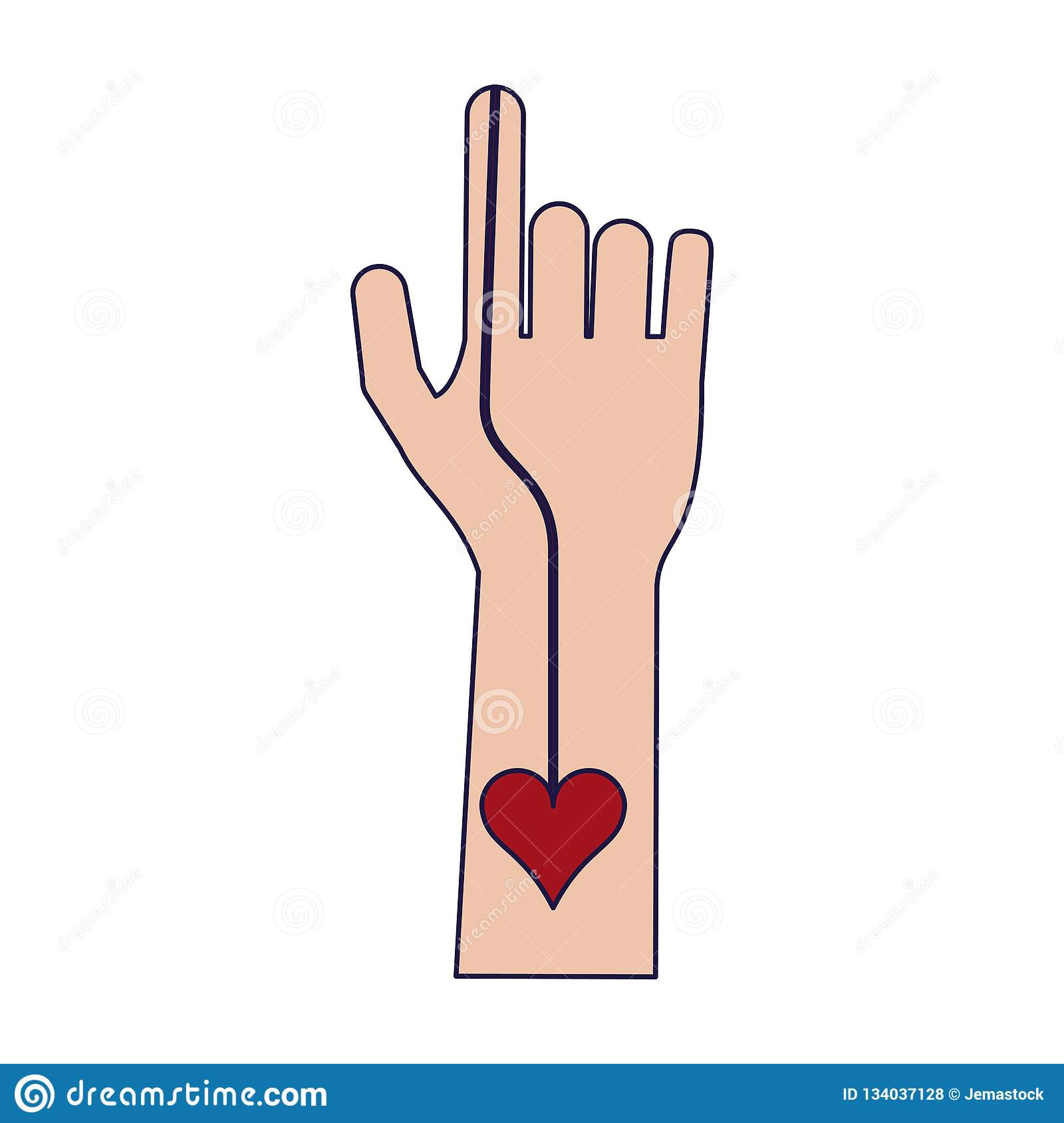 Blood transfer on hand stock vector  Illustration of hand