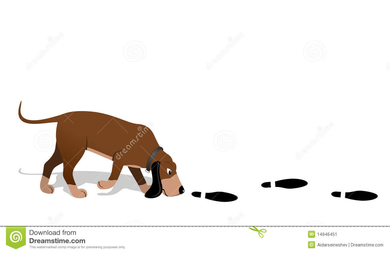 Bloodhound searching. Vector illustration. Jpeg. EPS.