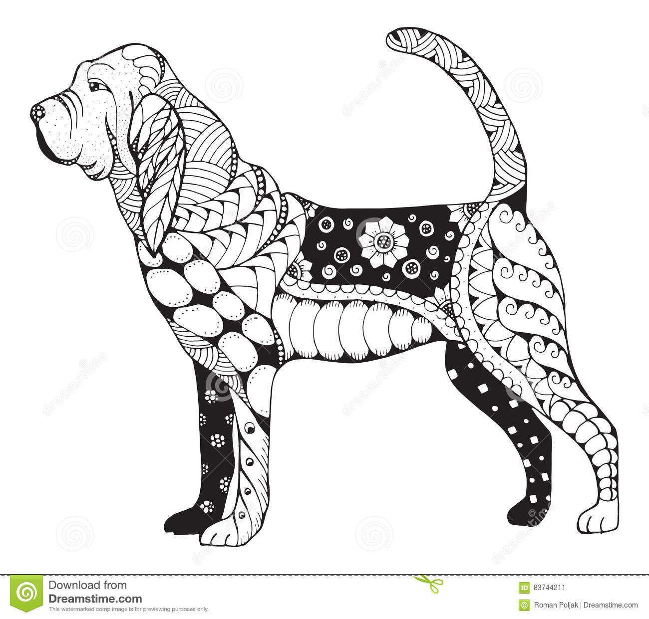 Bloodhound Zentangle Stylized Vector Illustration